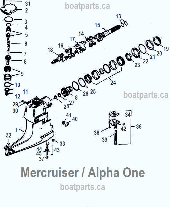 Mercruiser Alpha exploded view parts 26 48 mercruiser upper gearcase parts diagram
