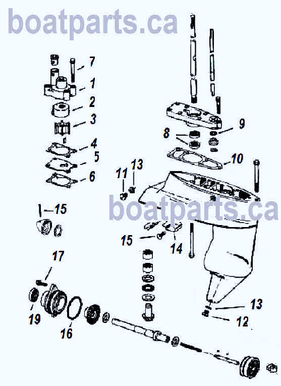 4, 4 5, 5, 6, 7 5 and 8 hp Johnson outboard parts drawing