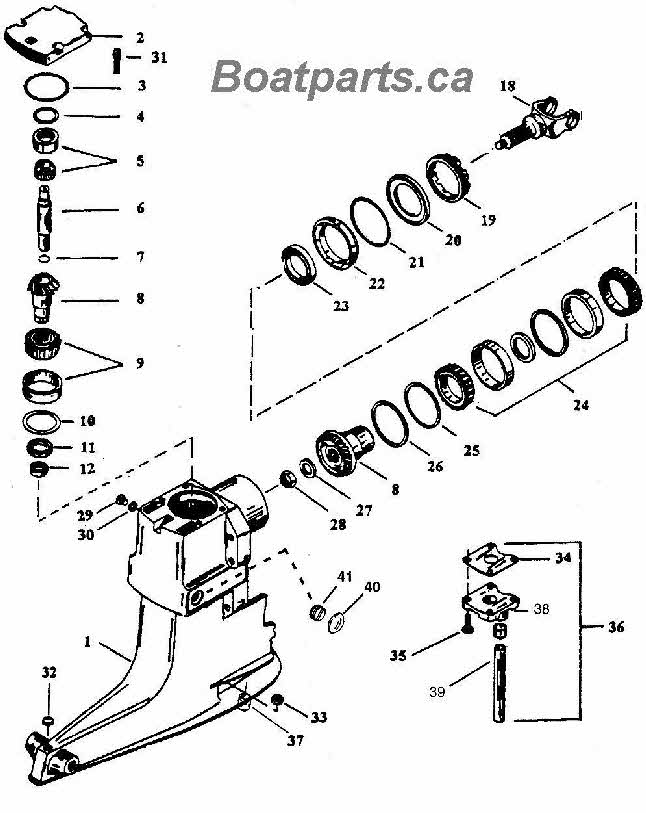 Mercruiser Alpha outdrive upper gearcase service drawing