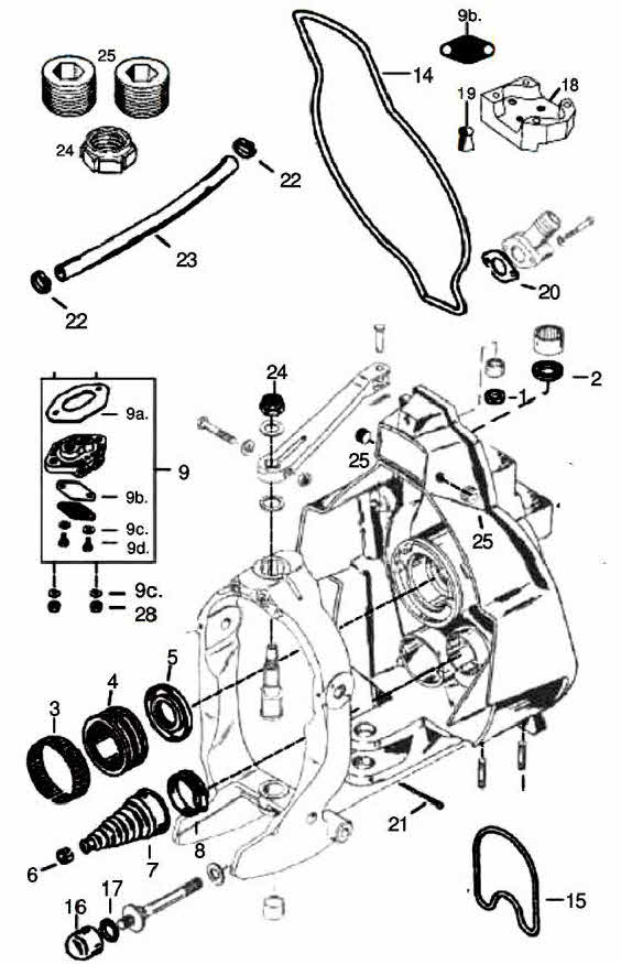 mercruiser gimbal housing parts drawing