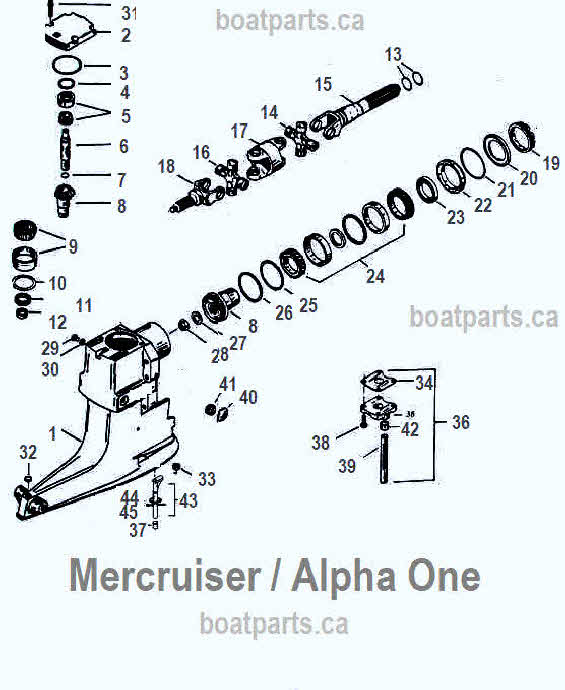 mercruiser upper housing parts drawing 1-25